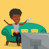Woman playing video game vector illustration. An african girl playing video game. Excited young woman with console in hands playing video game at home. Woman Royalty Free Stock Photography