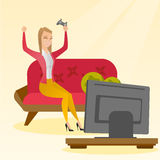 Woman playing a video game vector illustration. Caucasian woman playing a video game. Excited woman playing a video game at home with a console in hands. Woman Stock Image