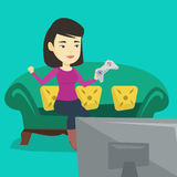 Woman playing video game vector illustration. Royalty Free Stock Images