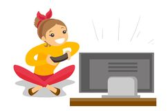 Woman playing video game vector illustration. Happy caucasian gamer sitting on a sofa and playing video game on the television. An excited young man with Stock Photos