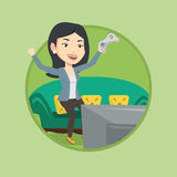 Woman playing video game vector illustration. Royalty Free Stock Image
