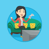 Woman playing video game vector illustration. Royalty Free Stock Photos
