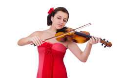 Woman playing violin isolated Stock Photo