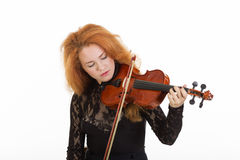 Woman playing violin. Isolated on white Stock Photography