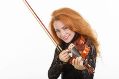 Woman playing violin. Isolated on white Royalty Free Stock Images