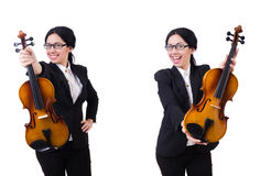 The woman playing violin isolated on white Stock Photo