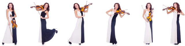 The woman playing violin isolated on white background. Woman playing violin isolated on white background Royalty Free Stock Image