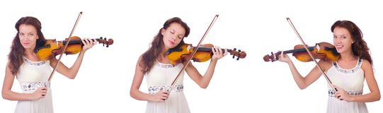 The woman playing violin isolated on white background Stock Image