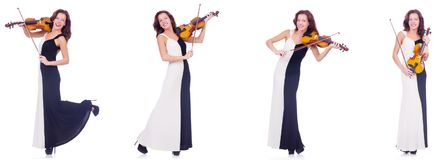 The woman playing violin isolated on white background Stock Photo