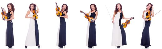The woman playing violin isolated on white background Royalty Free Stock Image