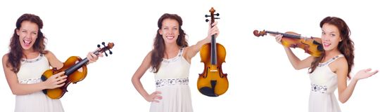 The woman playing violin isolated on white background Stock Photography