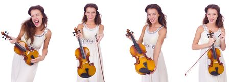 The woman playing violin isolated on white background Royalty Free Stock Photography