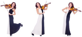 The woman playing violin isolated on white background Royalty Free Stock Photo