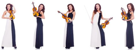 The woman playing violin isolated on white background Royalty Free Stock Photos