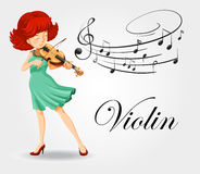 Woman playing violin with music notes Royalty Free Stock Photos