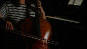 Woman playing a violin stock video footage