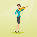 Woman playing the violin vector illustration. Royalty Free Stock Image