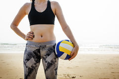 Woman Playing Volleyball Beach Summer Concept Royalty Free Stock Photos
