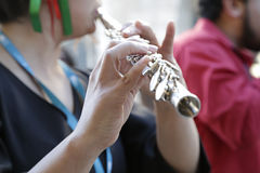 Woman playing the western concert flute Royalty Free Stock Image
