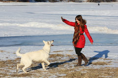 Woman playing with white dog in winter Royalty Free Stock Image