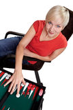 Woman plays backgammon Stock Images