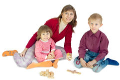 The woman plays with children Royalty Free Stock Photo