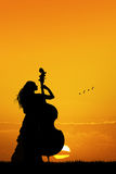 Woman plays the double bass at sunset Stock Image