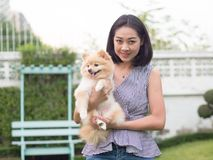 Woman plays with her pomeranian puppy in the garden. Royalty Free Stock Photography