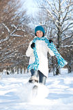 Woman plays with a snow Royalty Free Stock Photos