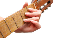 Woman plays spanish guitar Stock Photography