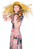 Woman plays the viola Royalty Free Stock Photography