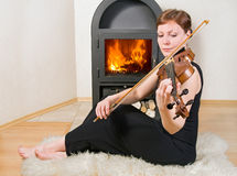 Woman plays the viola Stock Images