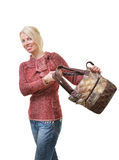 Woman pleased with a bag Stock Photo