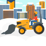 Woman plowing snow. Stock Images