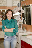 Woman in plumbing and baths store Royalty Free Stock Photography