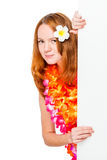 Woman with a plumery in red hair with a white blank poster Stock Photo