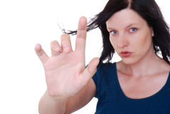 Woman point finger stock image