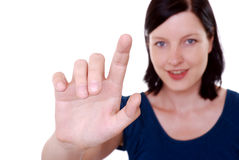 Woman point finger stock photos