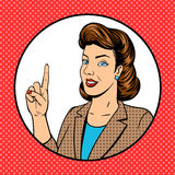 Woman point finger gesture pop art vector Stock Photography