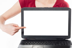 Woman,point finger laptop screen. Royalty Free Stock Photo