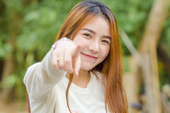 Woman point finger at you Stock Image