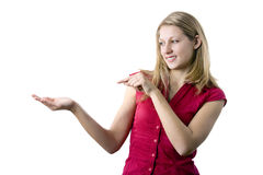 Woman point to something Royalty Free Stock Images