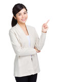 Woman point up  Stock Photo