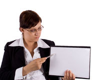 Woman with pointer. Businesswoman with pointer on white Royalty Free Stock Image