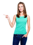 Woman pointing royalty free stock photos