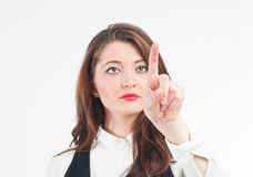 Woman pointing above Royalty Free Stock Image
