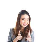 Woman pointing advertisement Royalty Free Stock Photo