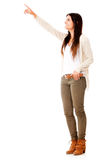 Woman pointing away Royalty Free Stock Photos