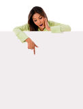 Woman pointing at a banner Royalty Free Stock Image