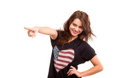 Woman pointing Stock Photos